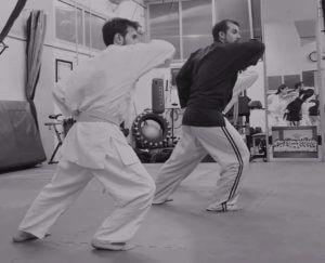 momento di una lezione di jujitsu